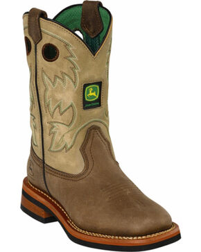 John Deere Boys' Johnny Popper Tan Western Boots - Square Toe, Tan, hi-res