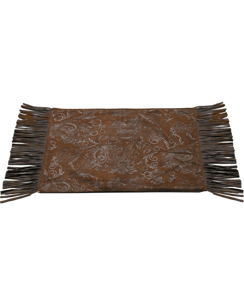 Tooled Faux Leather Placemats, Brown, hi-res