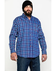 Ariat Men's Collins Blue FR Plaid Button Long Sleeve Work Shirt, Blue, hi-res