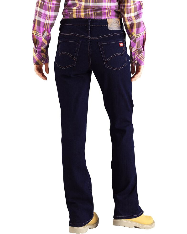 Dickies Women's Relaxed Boot Cut Jeans, Med Stone, hi-res