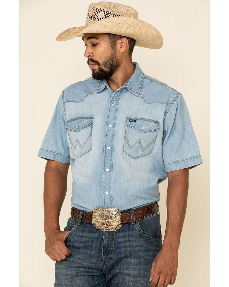 Wrangler Men's Light Worn Denim Short Sleeve Western Shirt, Blue, hi-res