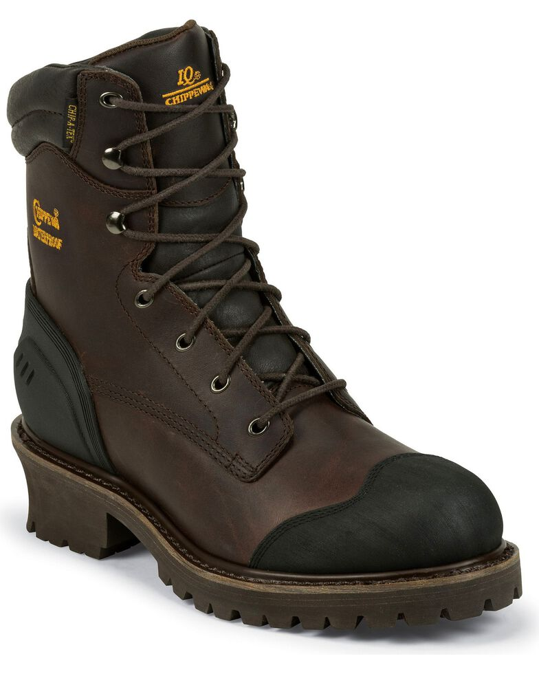 Chippewa Men's Waterproof Composite Toe Logger Boots, Chocolate, hi-res