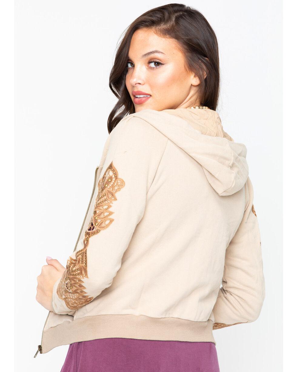 Miss Me Women's Embroidered Zip Hoodie, Mushroom, hi-res
