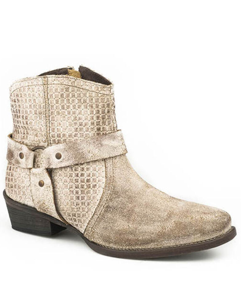 Roper Women's Off White Suede Fashion Booties - Snip Toe, Tan, hi-res