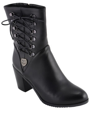 Milwaukee Leather Women's Laced Side Riding Boots - Round Toe, Black, hi-res