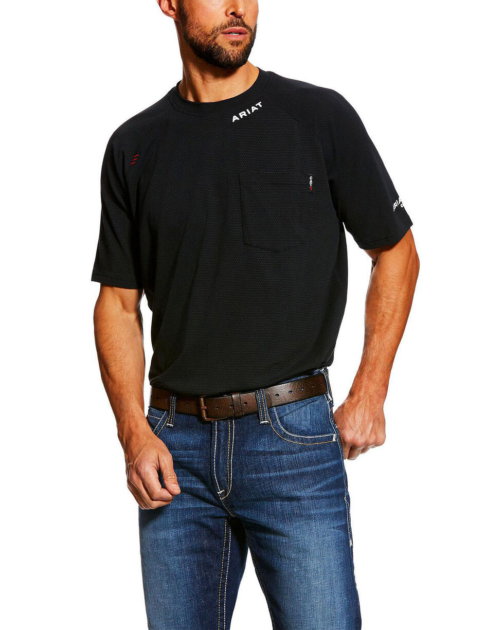 Ariat Men's FR Baselayer Short Sleeve Work Shirt - Tall , Black, hi-res