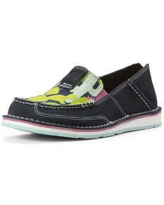Ariat Women's Mint Cactus Cruiser Shoes - Moc Toe, Navy, hi-res