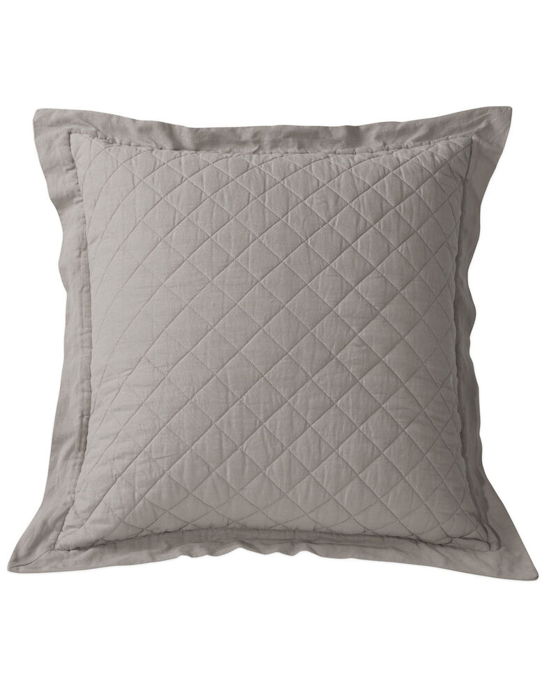 HiEnd Accents Diamond Pattern Quilted Grey Linen King Sham, Grey, hi-res