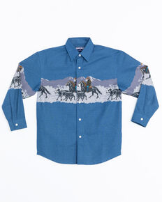 Panhandle Boys' Scenic Print Border Snap Long Sleeve Shirt , Blue, hi-res