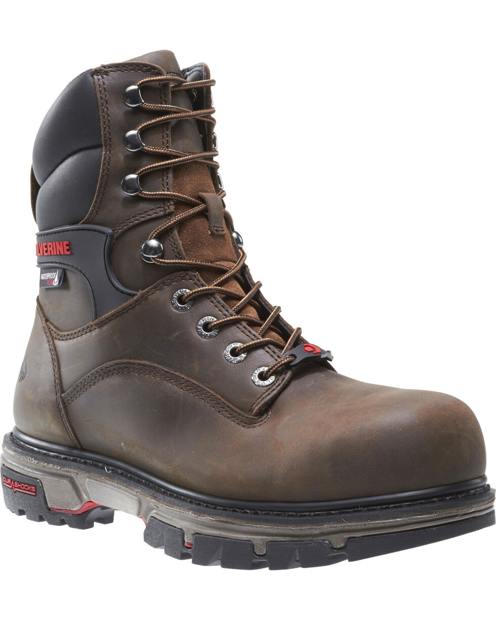 "Wolverine Men's Nation DuraShocks 8"" Work Boots - Composite Toe, Dark Brown, hi-res"