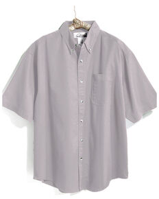 Tri-Mountain Men's Light Grey 4X Solid Recruit Short Sleeve Work Shirt - Big , Grey, hi-res