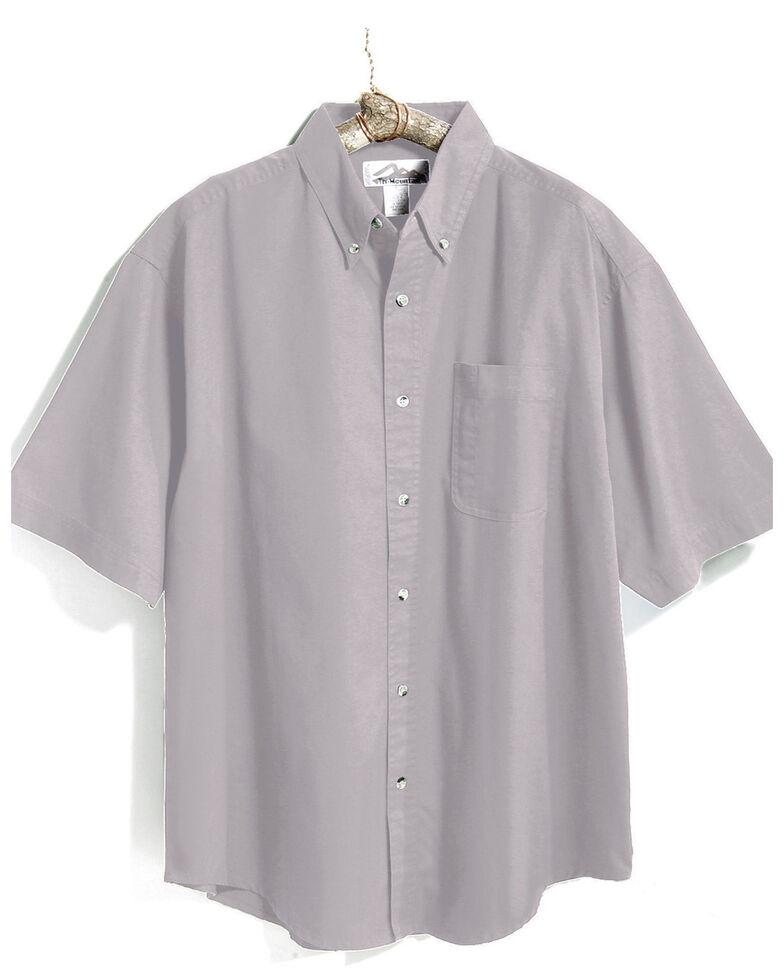 Tri-Mountain Men's Light Grey 4X Solid Recruit Short Sleeve Work Shirt - Big , Grey, hi-res