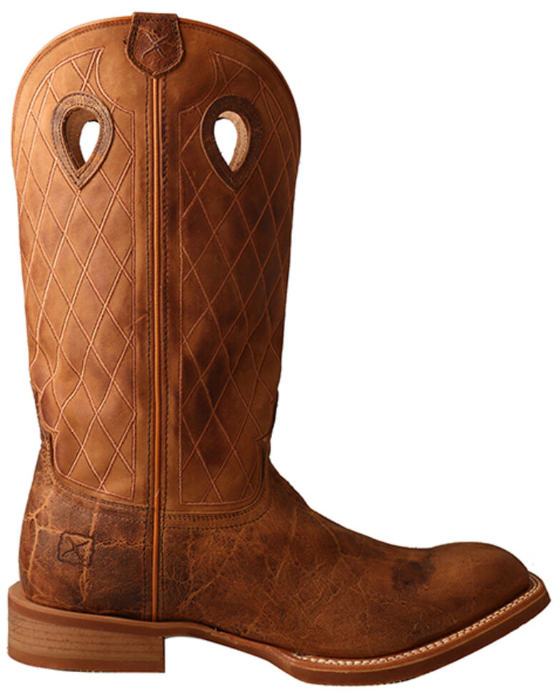 Twisted X Men's Elephant Print Western Boots - Wide Square Toe, Brown, hi-res