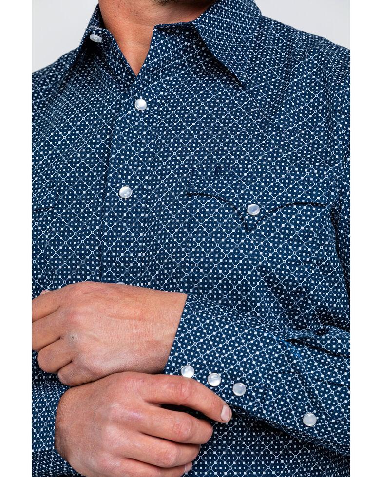 Roper Men's Small Geo Print Long Sleeve Western Shirt , Blue, hi-res