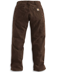 Carhartt Men's Double Front Washed Dungaree work Pants, Dark Brown, hi-res