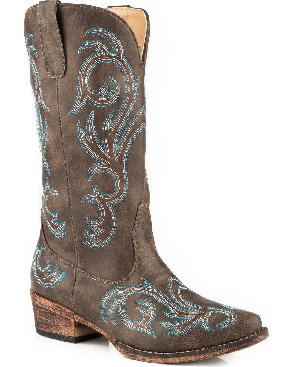 cowboy boots womens 7 B brown suede knee high western cowgirl low heel vintage leather ladies
