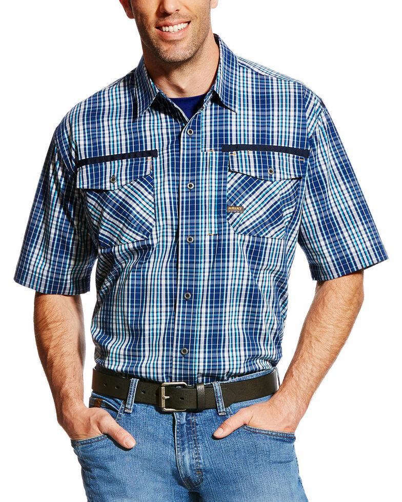 Ariat Men's Rebar Plaid Short Sleeve Work Shirt, Navy, hi-res