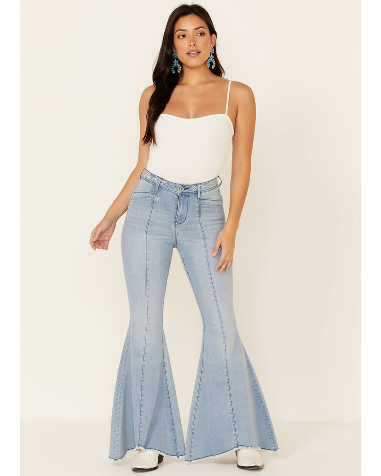 Grace in LA Women's Aztec Flare Leg Jeans, Light Blue, hi-res