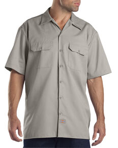 Dickies Men's Short Sleeve Work Shirt, Silver, hi-res