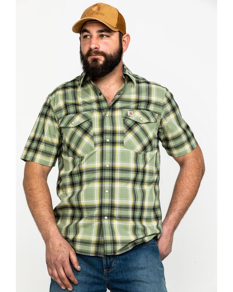 Carhartt Men's Green Plaid Rugged Flex Rigby Short Sleeve Work Shirt , Green, hi-res