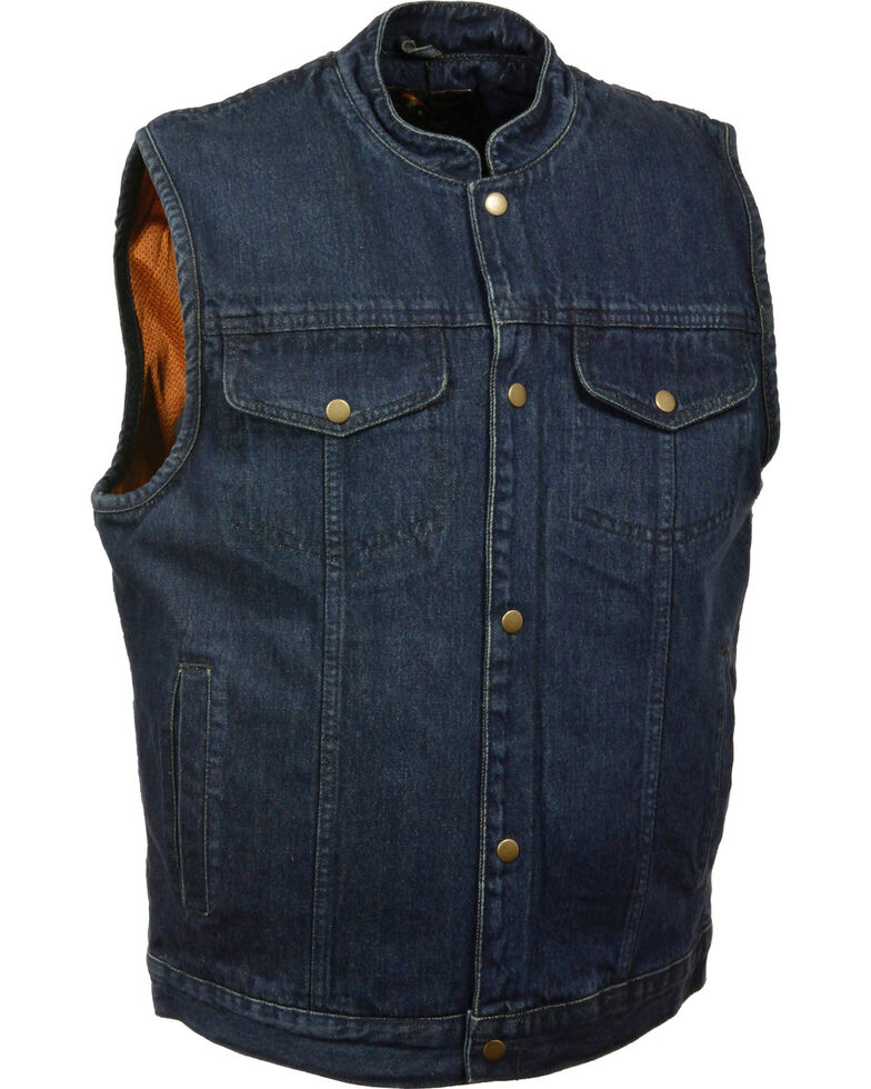 Milwaukee Leather Men's Snap Front Denim Club Style Vest w/ Gun Pocket, Blue, hi-res