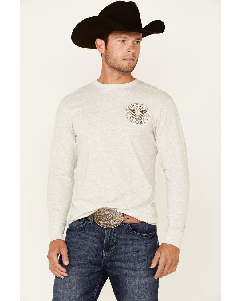 Cowboy Hardware Men's Solid Cream Cowboy Nation Graphic Long Sleeve T-Shirt , Cream, hi-res