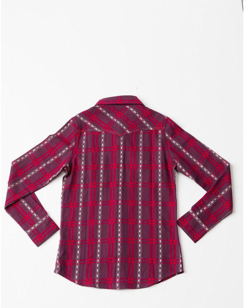 Shyanne Girls' Plaid Woven Core Long Sleeve Western Shirt , Burgundy, hi-res