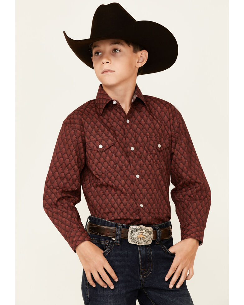Panhandle Select Boys' Red Wallpaper Print Long Sleeve Snap Western Shirt , Red, hi-res