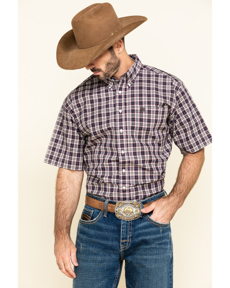 Cinch Men's Multi Plaid Short Sleeve Western Shirt , Multi, hi-res