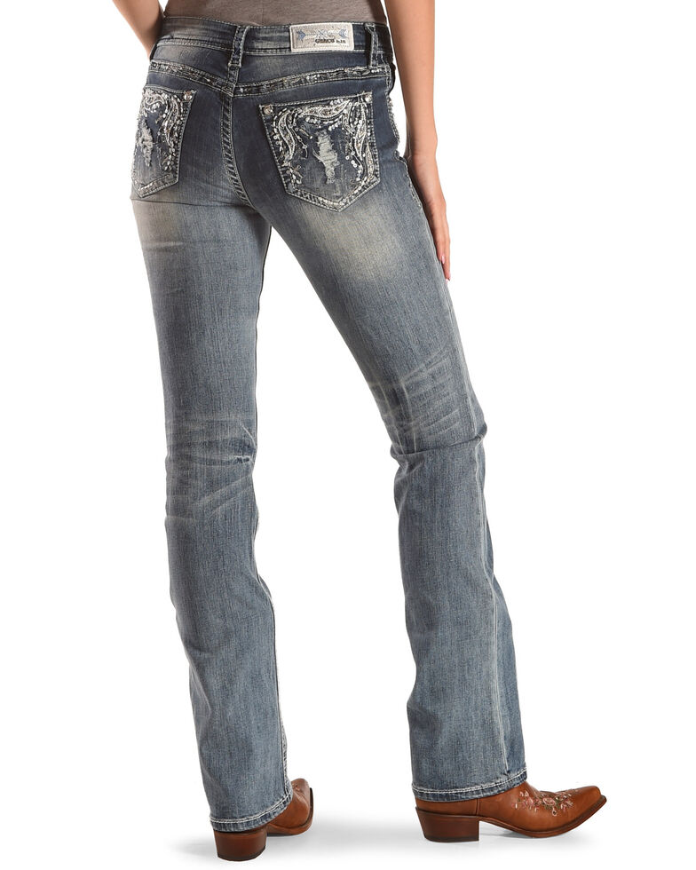 Top Grace in LA Women's Feather Pocket Easy Fit Boot Cut Jeans free shipping