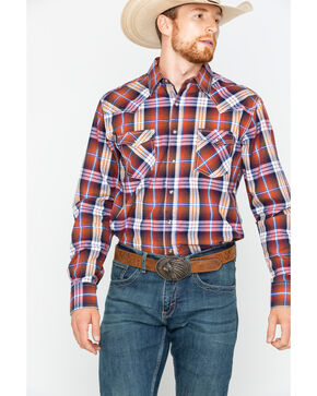 Wrangler Men's Rust Retro Plaid Western Shirt , Rust Copper, hi-res