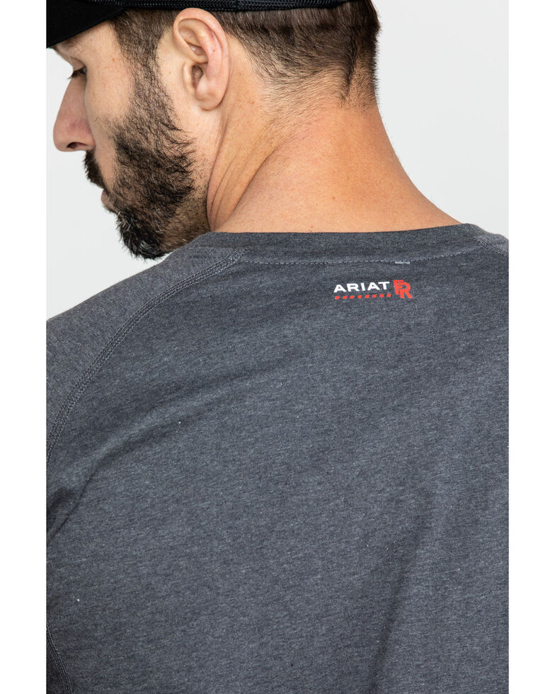 Ariat Men's Charcoal FR Air Henley Long Sleeve Work Shirt - Tall , Charcoal, hi-res