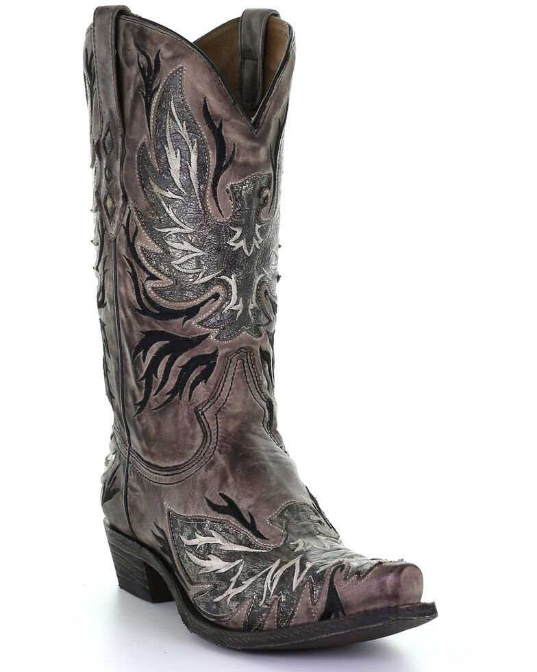 Corral Men's Chocolate Inlay Western Boots - Snip Toe, Chocolate, hi-res