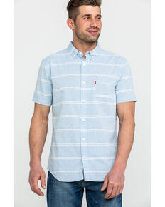 Levis Men's Pablu Boucher Stripe Short Sleeve Western Shirt , Light Blue, hi-res