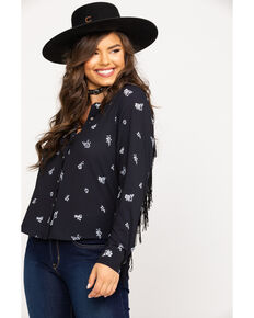 Wrangler Women's Black Floral Fringe Long Sleeve Western Shirt , Black, hi-res