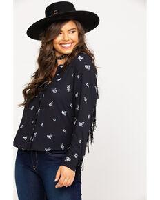 Wrangler Women's Black Floral Fringe Long Sleeve Western Shirt , Black, hi-res