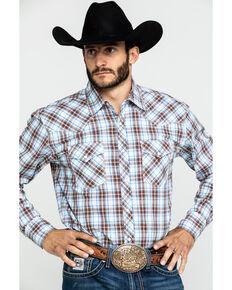 Wrangler 20X Men's Advanced Comfort Brown Plaid Snap Long Sleeve Western Shirt - Tall , Brown, hi-res