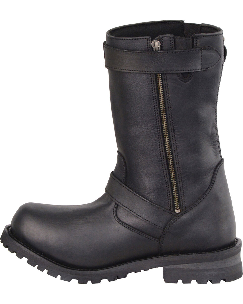 "Milwaukee Leather Men's 11"" Classic Engineer Boots - Round Toe, Black, hi-res"