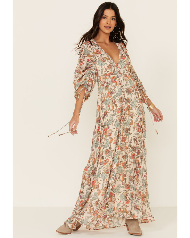 Free People Women's Earthfolk Maxi Dress, Tan, hi-res