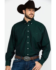Resistol Men's Vardiman Small Plaid Long Sleeve Western Shirt , Green, hi-res