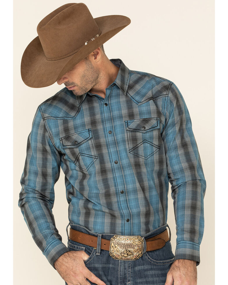 Cody James Men's Morning Fog Plaid Long Sleeve Western Shirt , Blue, hi-res