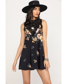 Miss Me Women's Black Floral Shift Dress, Black, hi-res