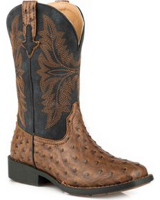 Roper Boys' Jed Faux Brown Ostrich Cowboy Boots - Square Toe, Brown, hi-res
