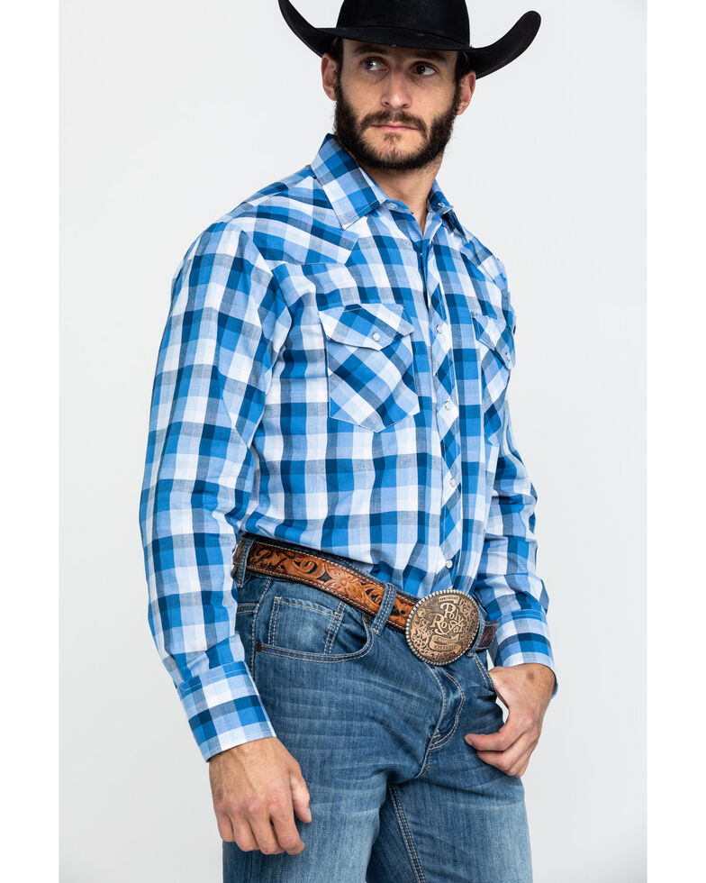 Roper Men's Classic Blue Plaid Snap Woven Long Sleeve Western Shirt , Blue, hi-res