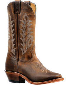 Boulet Women's Hillbilly Golden Vintage Cowgirl Boots - Square Toe, Brown, hi-res