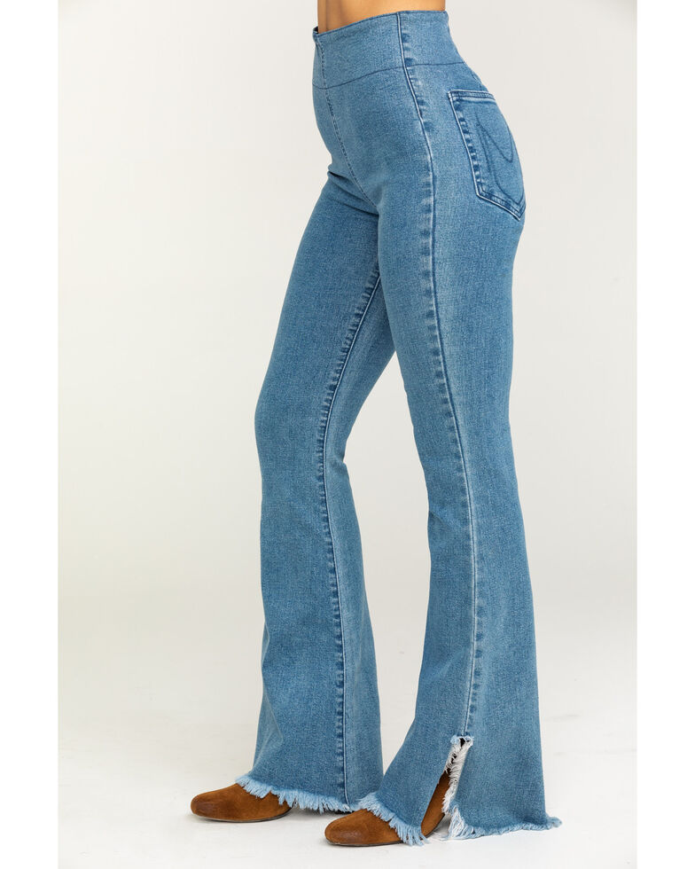 Show Me Your Mumu Women's Austin Agua Fria Pull On Flare Jeans, Blue, hi-res