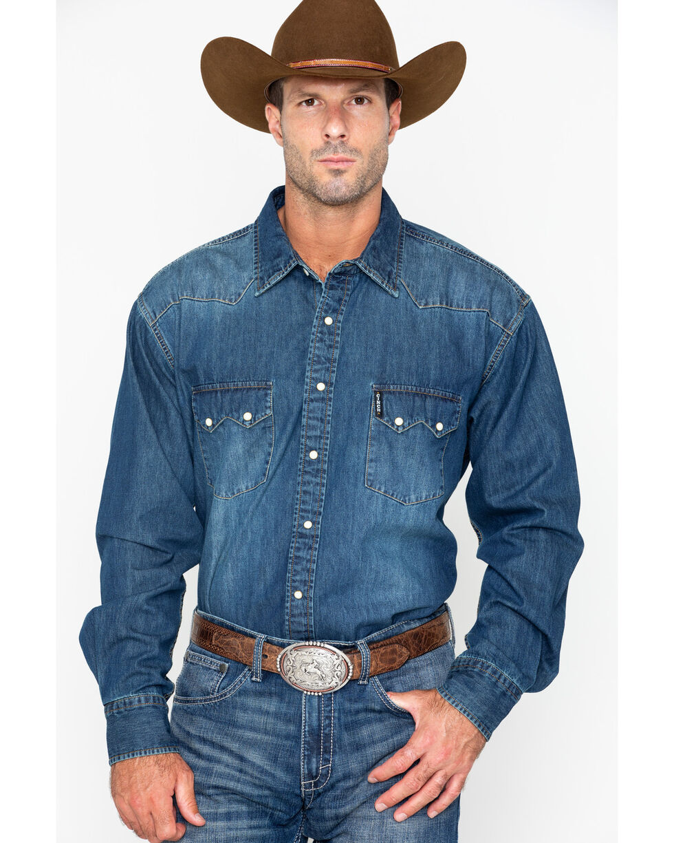 Cinch Men's Denim Long Sleeve Western Shirt , Indigo, hi-res