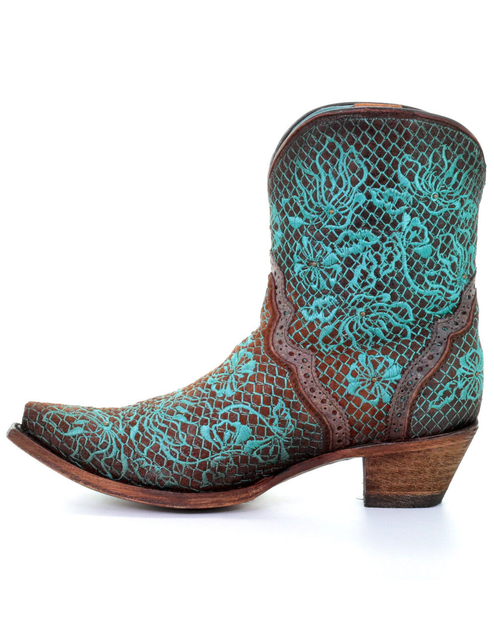 Corral Women's Floral Embroidery Western Boots - Snip Toe, Brown, hi-res