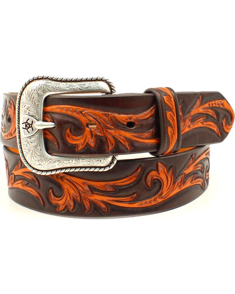 Ariat Men's Genuine Leather Embossed Tan Scroll Belt, Black, hi-res