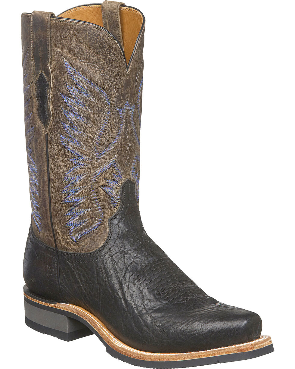 Lucchese Men's Handmade Cooper Black Bull Shoulder Western Boots - Square Toe, Black, hi-res